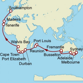 Sydney to Southampton World Sector Cunard Cruise