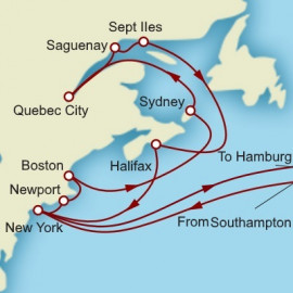 Westbound Transatlantic New England and Canada Itinerary