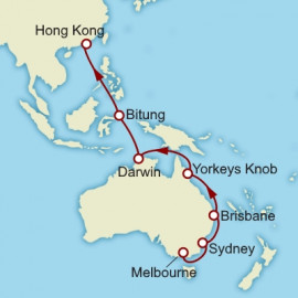 Melbourne to Hong Kong World Sector Itinerary