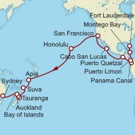 Fort Lauderdale to Sydney World Sector Cunard Cruise