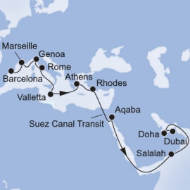 Barcelona to Dubai MSC Cruises Cruise