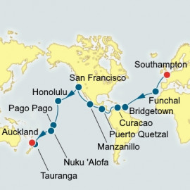 Southampton to Auckland World Sector P&O Cruises UK Cruise