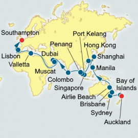 Auckland to Southampton World Sector P&O Cruises UK Cruise