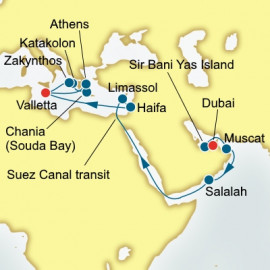 Dubai to Valletta over 22 nights on Oceana P&O Cruises UK Cruise