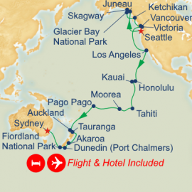 Fly Hotel Holiday Seattle to Sydney Princess Cruises Cruise