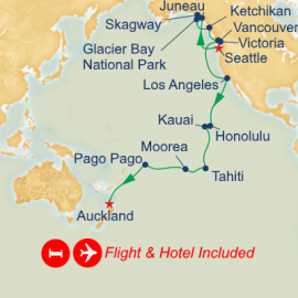 Fly Hotel Holiday Seattle to Auckland Princess Cruises Cruise