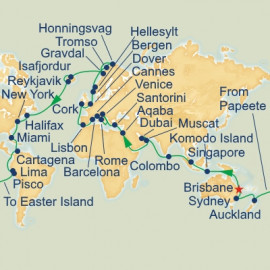 2020 Brisbane Departure World Itinerary