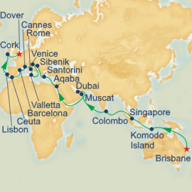Brisbane to Dover Princess Cruises Cruise