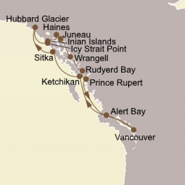 Canadian Inside Passage Alaska Fjords and Glaciers Itinerary