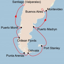 South America and the Chilean Fjords Itinerary