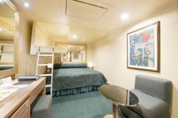 Inside Triple Cabin with Queen Bed