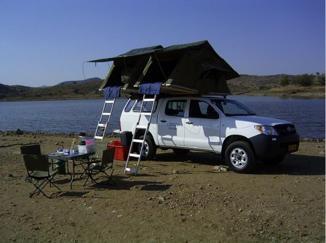 Caprivi Camper Hire Toyota Hilux Double Cab 2.4L with 2 Rooftents
