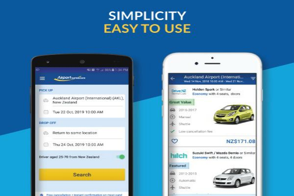 Easily compare vehicles on the Airport Rentals app