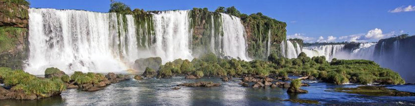 The stunning Iguacu falls (Cataratas do Iguacu) on a sunny day in Argentina