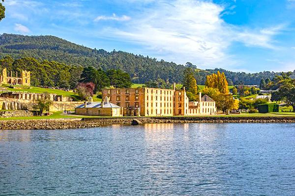 The Port Arthur Penitentiary overlooking the water near Hobart, Tasmania