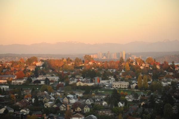 A distant view of the Cascade Mountains, during sunset in Bellevue, Washington