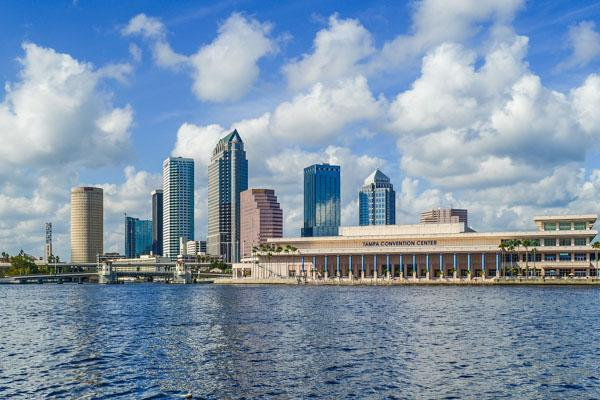 The Tampa Convention Center sits on the waterfront outside of Brandon, Florida