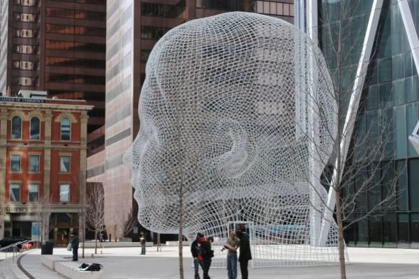 "The unique sculpture in Calgary called ""Wonderland"" was created by Spanish sculptor Jaume Plensa."