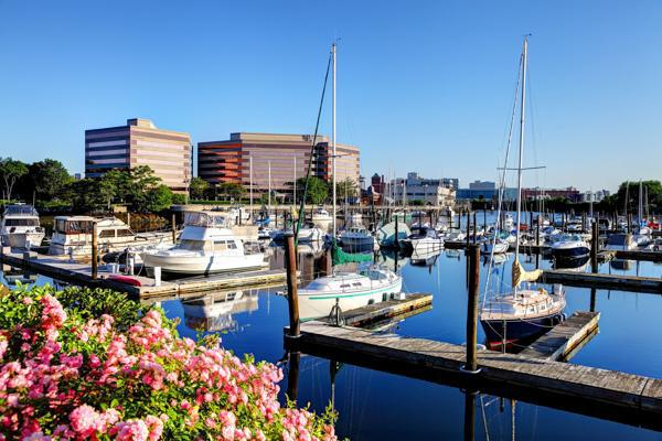 Boats docked in the calm waters of Harbour Point in Stamford, Connecticut