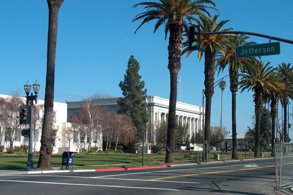 Palm trees line the streets as they lead the way into downtown Fairfield, California