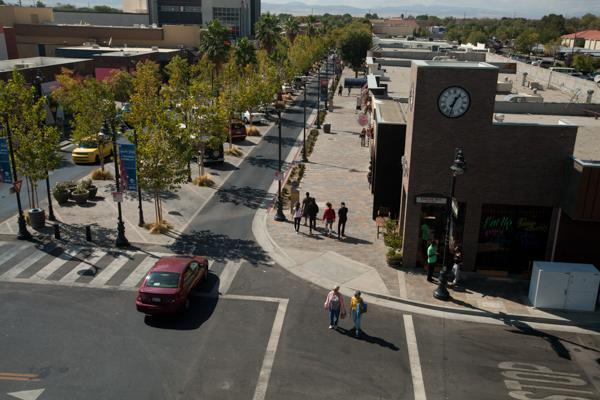 People walking through the streets of downtown Lancaster, California