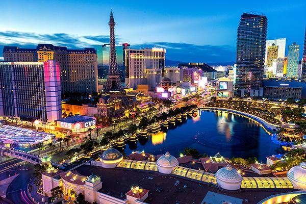 The bright lights of Las Vegas, Nevada shining brightly at dusk