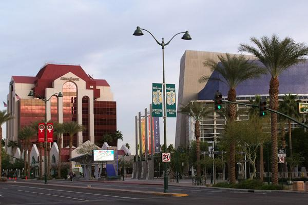 The streets of downtown Mesa, Arizona lined with palm trees