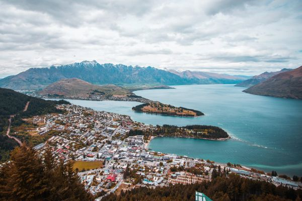 Aerial view of Queenstown in New Zealand