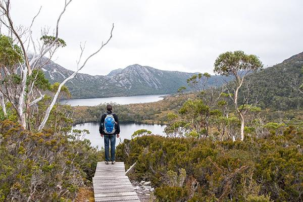 A hiker admires the nature view at Cradle Mountain National Park