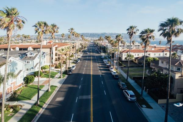An empty street headed towards the beach in Torrance, California
